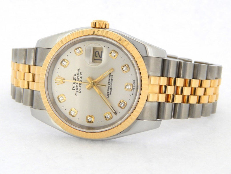 Men's Rolex Two-Tone 18K/SS Datejust Silver Diamond 116233 PRE-OWNED