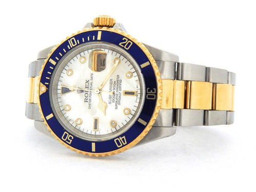 Men's Rolex Two-Tone 18K/SS Submariner White MOP Diamond Blue 16613 PRE-OWNED