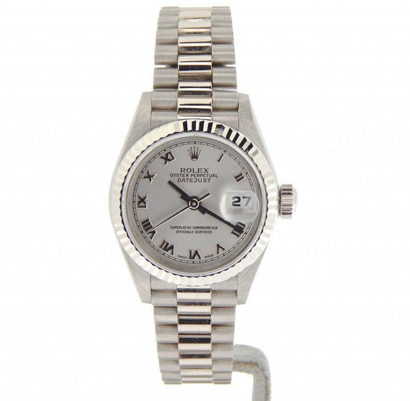 Ladies Rolex 18K White Gold Datejust President Silver Roman 69179 PRE-OWNED - Global Timez