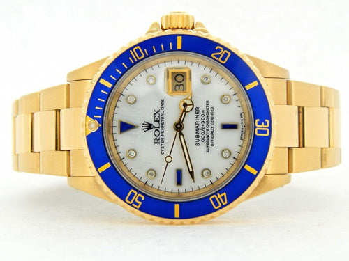 Men's Rolex 18K Yellow Gold Submariner White MOP Diamond Blue 16618 PRE-OWNED