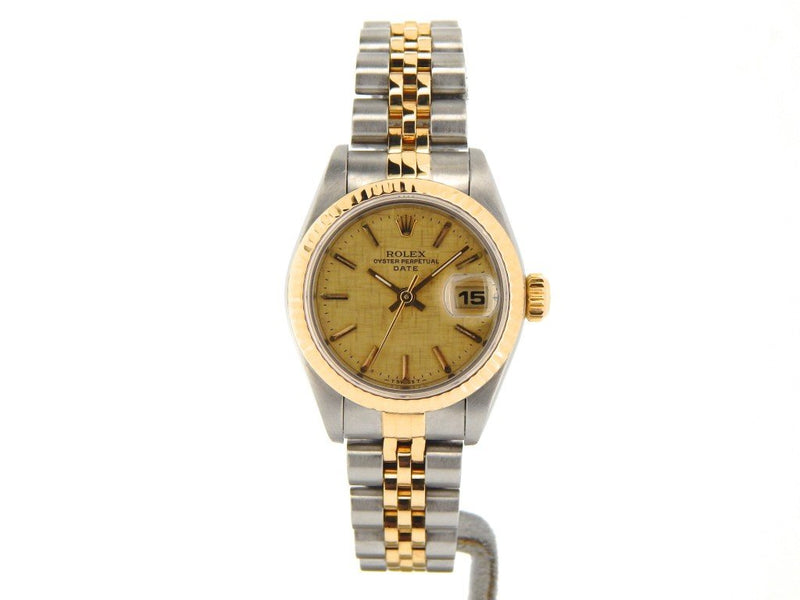 Ladies Rolex Two-Tone 18K/SS Date Gold Linen 69173 PRE-OWNED