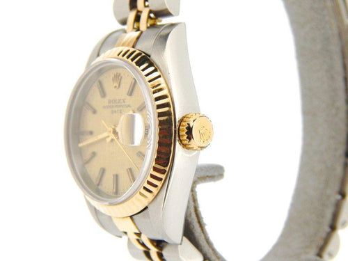 Ladies Rolex Two-Tone Date Gold Linen 69173 PRE-OWNED - Global Timez