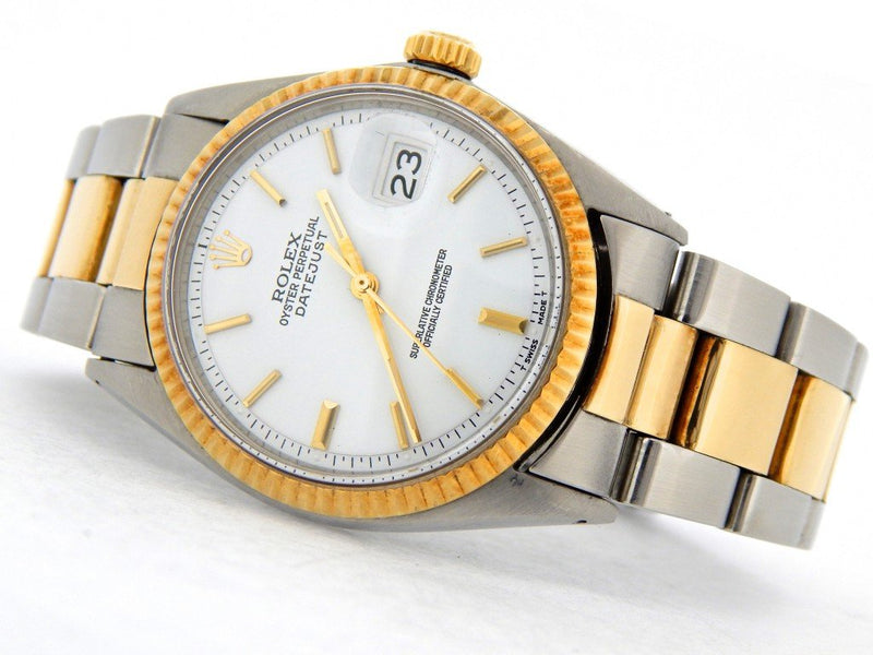 Men's Rolex Two-Tone Datejust White 1601 PRE-OWNED