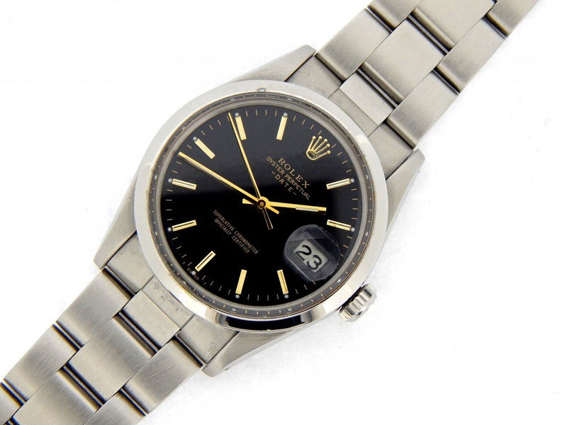 Men's Rolex Stainless Steel Date Black 15000 PRE-OWNED
