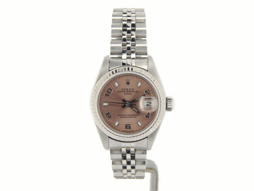 Ladies Rolex Stainless Steel Date Salmon Arabic 69174 PRE-OWNED - Global Timez