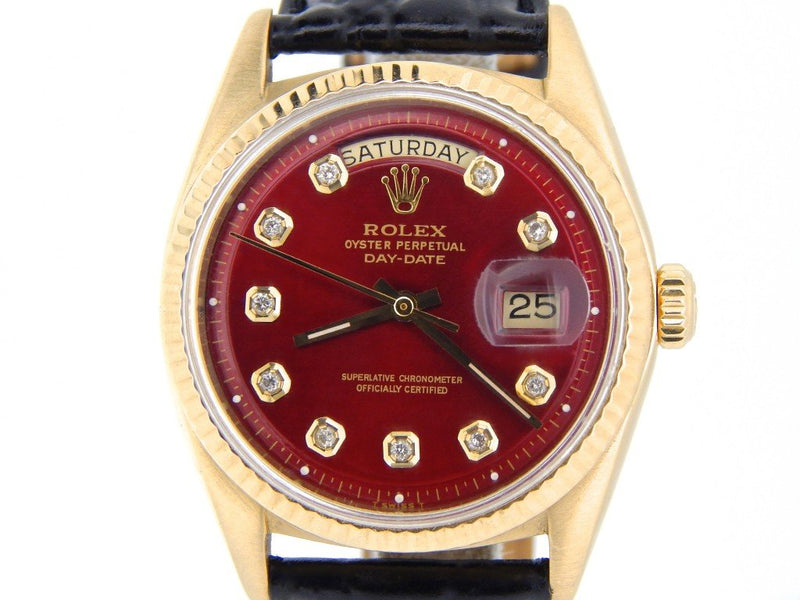 Men's Rolex 18K Gold Day-Date President Red Diamond 1803 PRE-OWNED