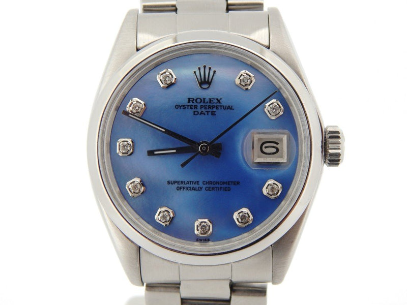 Men's Rolex Stainless Steel Date Blue MOP Diamond 1500 PRE-OWNED