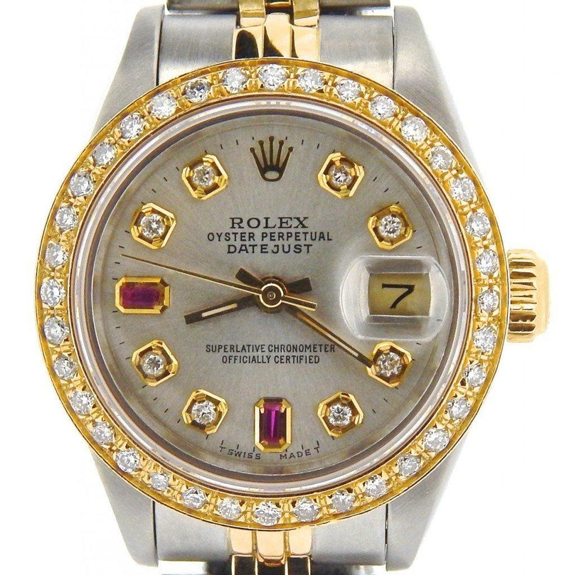 Ladies Rolex Two-Tone 18K/SS Datejust Silver Diamond Ruby 69173 PRE-OWNED