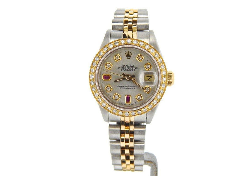 Ladies Rolex Two-Tone 18K/SS Datejust Silver Diamond Ruby 69173 PRE-OWNED - Global Timez