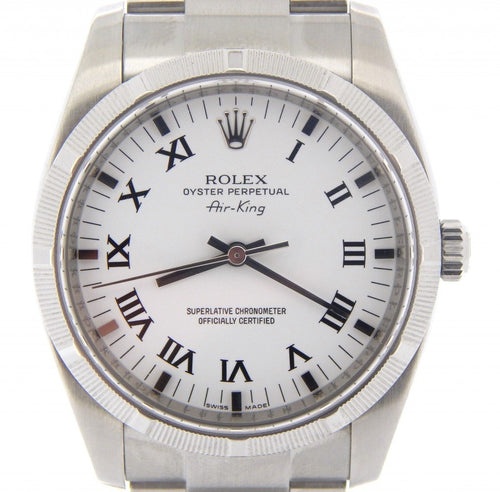 Men's Rolex Stainless Steel Air-King White Roman 114210 PRE-OWNED