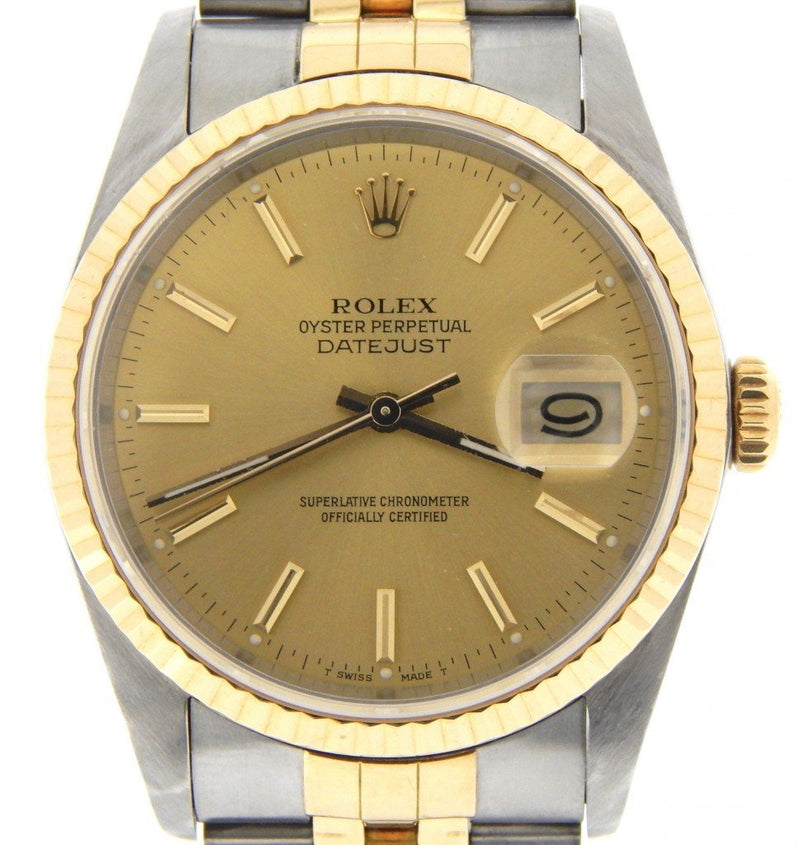 Men's Rolex Two-Tone 18K/SS Datejust Champagne 16233 PRE-OWNED