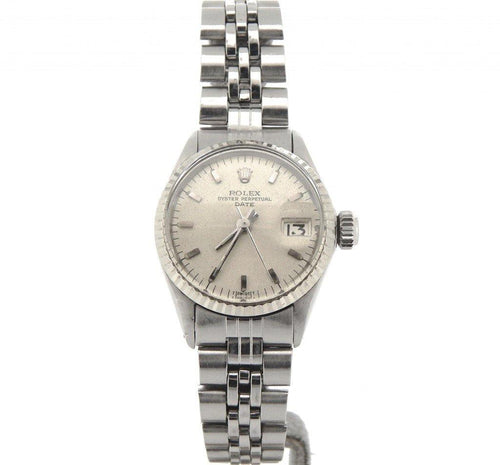 Ladies Rolex Stainless Steel Date Silver 6517 PRE-OWNED - Global Timez