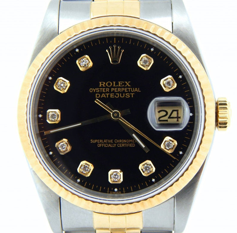 Men's Rolex Two-Tone 18K/SS Datejust Black Diamond 16233 PRE-OWNED