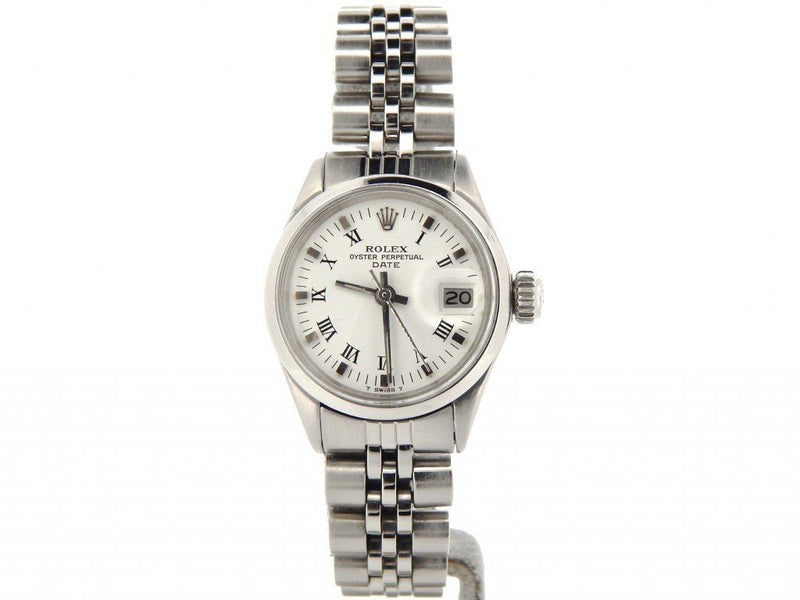 Ladies Rolex Stainless Steel Date White Roman 6516 PRE-OWNED