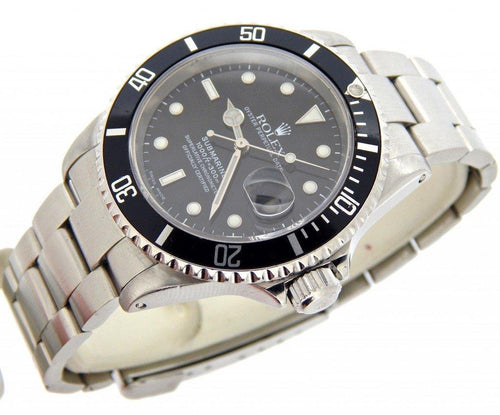Men's Rolex Stainless Steel Submariner Black 16610 PRE-OWNED - Global Timez