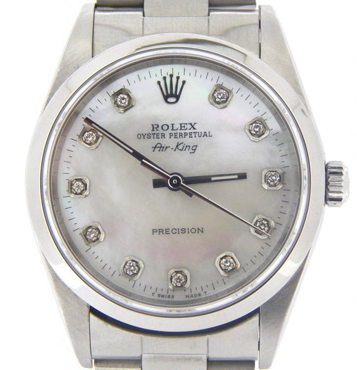 Men's Rolex Stainless Steel Air-King White MOP Diamond 14000 PRE-OWNED