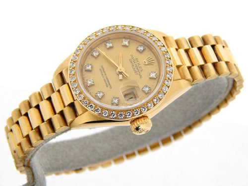 Ladies Rolex 18K Yellow Gold Datejust President Crown Collection Diamond 69138 PRE-OWNED - Global Timez