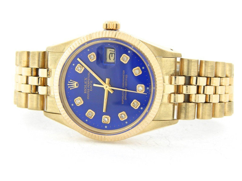 Men's Rolex 14K Yellow Gold Date Watch Diamond Blue PRE-OWNED