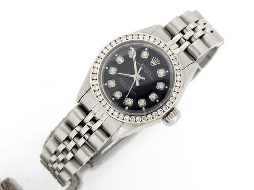 Ladies Rolex Stainless Steel Oyster Perpetual Black Diamond 6718 PRE-OWNED