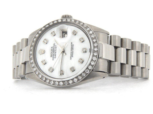 Men's Rolex Stainless Steel Datejust White MOP Diamond PRE-OWNED - Global Timez