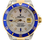 Men's Rolex Two-Tone 18K/SS Submariner White MOP Diamond Blue 16803 PRE-OWNED