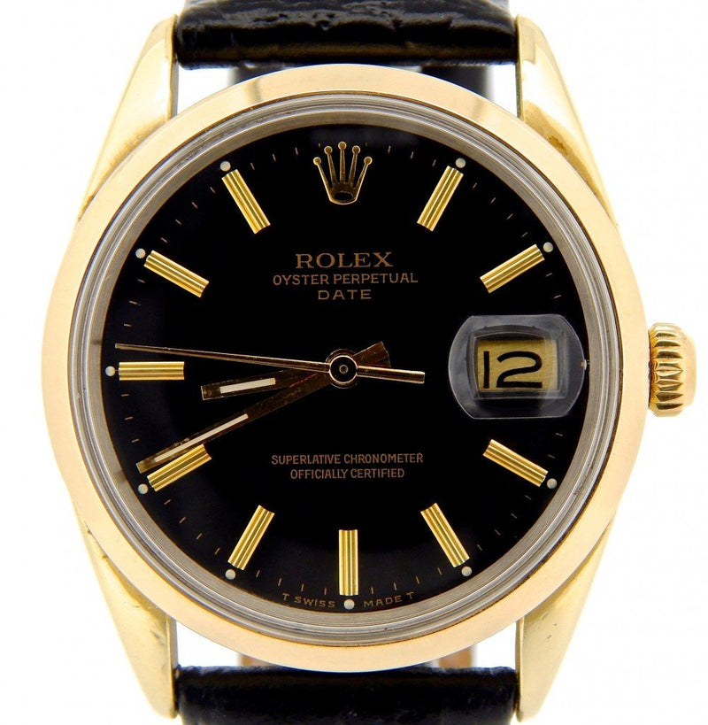 Men's Rolex 14K Gold Shell Date Black 15505 PRE-OWNED