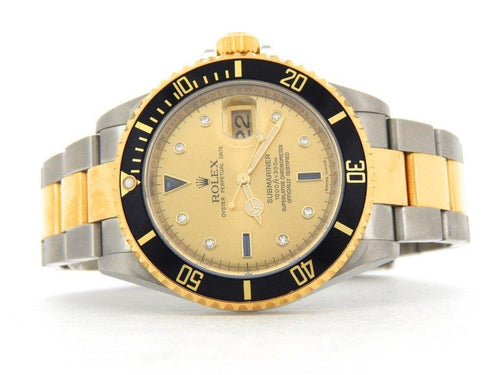 Men's Rolex Two-Tone Submariner Champagne Diamond 16613T PRE-OWNED - Global Timez
