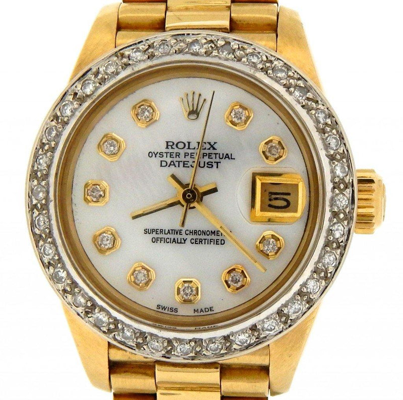 Ladies Rolex 18K Yellow Gold Datejust President White MOP Diamond PRE-OWNED - Global Timez