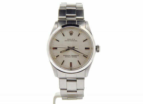 Men's Rolex Stainless Steel Oyster Perpetual Silver 1002 PRE-OWNED - Global Timez