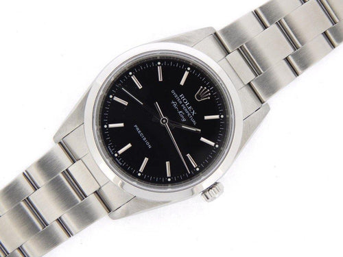 Men's Rolex Stainless Steel Air-King Black 14000M PRE-OWNED - Global Timez