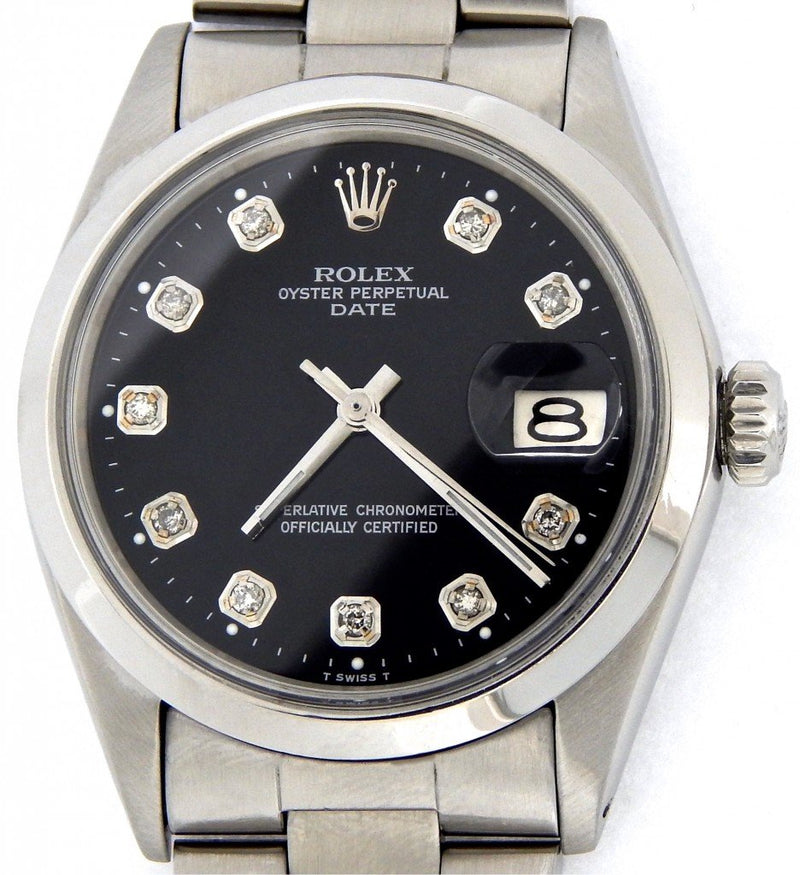 Men's Rolex Stainless Steel Date Black Diamond 1500 PRE-OWNED
