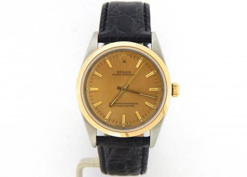 Men's Rolex Two-Tone 18K/SS Oyster Perpetual Gold 14203 PRE-OWNED - Global Timez