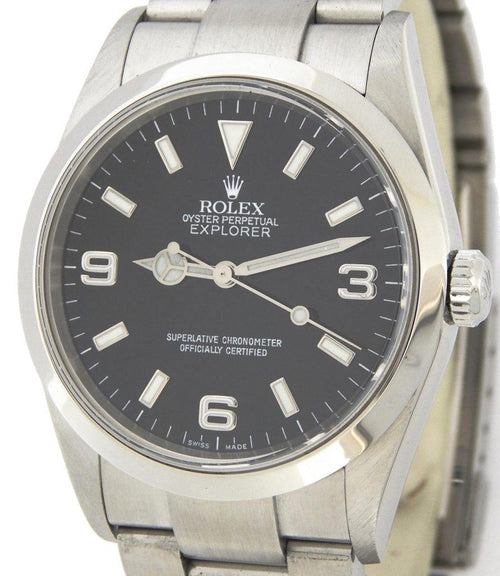 Men's Rolex Stainless Steel Explorer I Watch 114270 PRE-OWNED - Global Timez