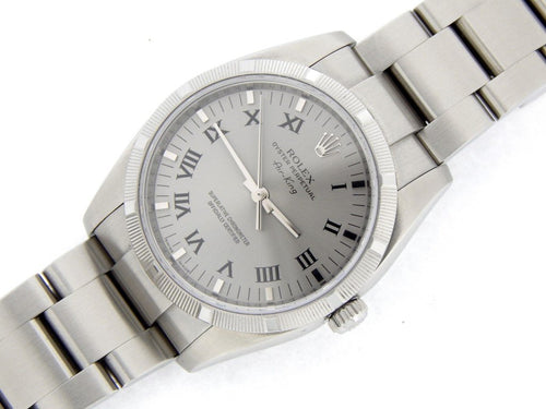 Men's Rolex Stainless Steel Air-King Silver Gray Roman 114210 PRE-OWNED