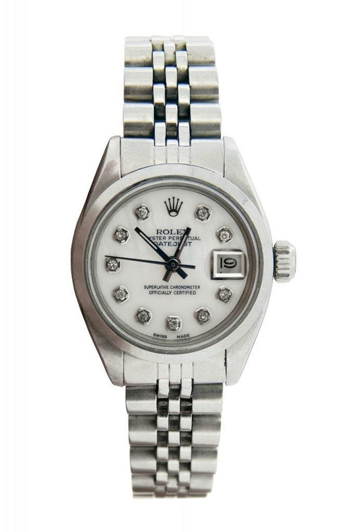 Ladies Rolex Steel Datejust White MOP Diamond 6916 PRE-OWNED - Global Timez