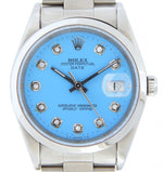 Men's Rolex Stainless Steel Date Blue Diamond 15200 PRE-OWNED
