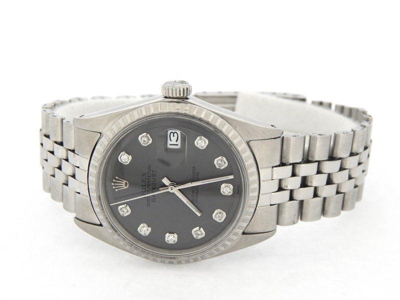 Men's Rolex Stainless Steel Datejust Slate Gray Diamond 1603 PRE-OWNED