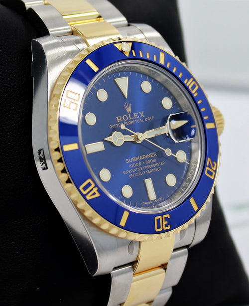 Men's Rolex Submariner Date Yellow Gold/Steel Blue Dial & Ceramic Bezel Oyster Bracelet 116613LB - BRAND NEW