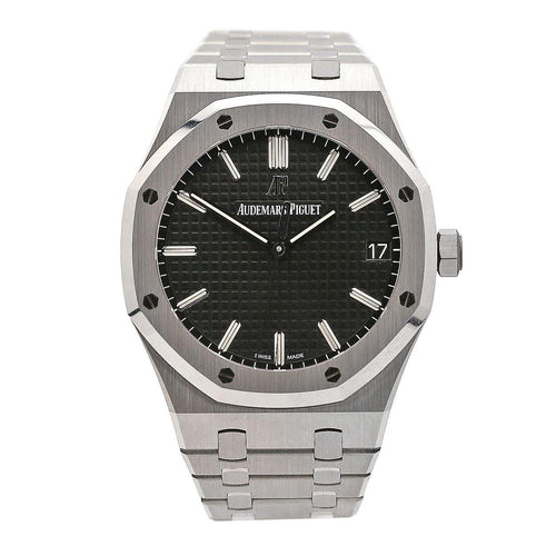 Men's Audemars Piguet Royal Oak Selfwinding Stainless Steel Black Index Dial & Fixed Bezel Steel Bracelet 15500ST.OO.1220ST.03 - PRE-OWNED - Global Timez
