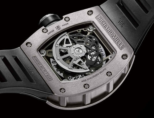 Men's Richard Mille RM 030 White Gold on Black Rubber with Grey Skeleton Dial RM030 PRE-OWNED - Global Timez