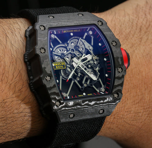 Men's Richard Mille RM 035-01 Rafael Nadal NTPT Carbon on Strap with Skeleton Dial RM035 01 PRE-OWNED
