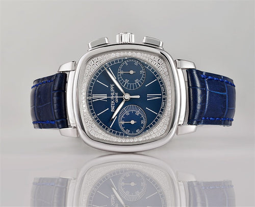 "Patek Philippe 7071G-011 Complications Ladies Chronograph 35 Ã"""" 39mm Blue Opaline Roman White Gold Diamond Set Leather Manual - BRAND NEW"