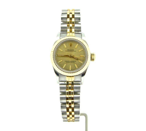Ladies Rolex Two-Tone 18K/SS Oyster Perpetual Champagne 67193 PRE-OWNED - Global Timez