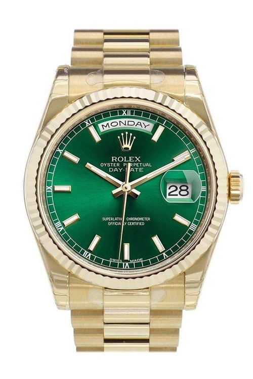 Men's Rolex Day-Date 36 Yellow Gold Green Index Dial & Fluted Bezel President Bracelet 118238 - BRAND NEW - Global Timez