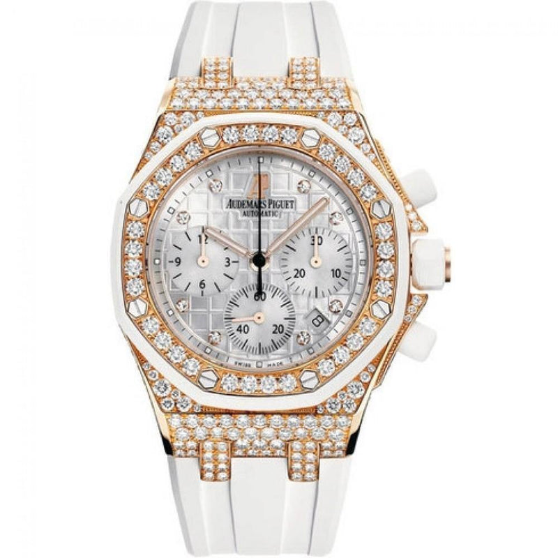Audemars Piguet Royal Oak Ladies Offshore Chronograph Rose Gold Diamonds White 37mm Dial Rubber Strap 26092OK.ZZ.D010CA.01 BRAND NEW - Global Timez