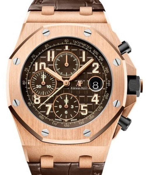 Men's Audemars Piguet Royal Oak Offshore Selfwinding Chronograph Rose Gold Brown Arabic Dial & Fixed Bezel Leather Bracelet 26470OR.OO.A099CR.01 - BRAND NEW - Global Timez