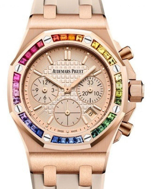 Men's Audemars Piguet Royal Oak Offshore Selfwinding Chronograph Rose Gold Pink Gold-Toned Index Dial & Rainbow Baguette Sapphires Bezel Rubber Bracelet 26236OR.YY.D085CA.01 - BRAND NEW - Global Timez