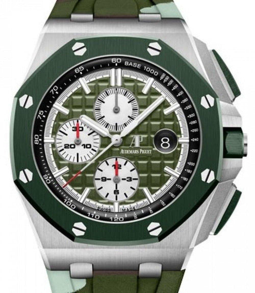 Men's Audemars Piguet Royal Oak Offshore Selfwinding Chronograph Stainless Steel Green Index Dial & Ceramic Bezel Rubber Bracelet 26400SO.OO.A055CA.01 - BRAND NEW - Global Timez