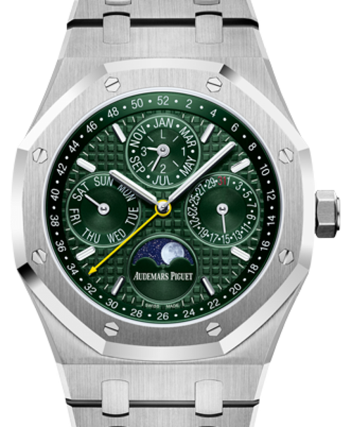 Men's Audemars Piguet Royal Oak Perpetual Calendar Limited Edition For Unique Timepieces Stainless Steel Green Index Dial & Fixed Bezel Steel Bracelet 26606ST.OO.1220ST.01 - BRAND NEW - Global Timez