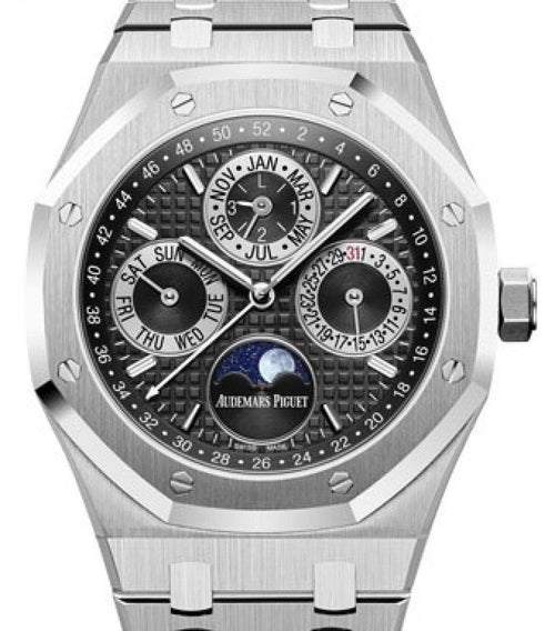 Men's Audemars Piguet Royal Oak Perpetual Calendar Platinum Black Index Dial & Fixed Bezel Platinum Bracelet 26597PT.OO.1220PT.01 - BRAND NEW - Global Timez